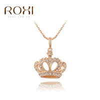 ROXI Gift Classic Crown Pendant Necklace Rose Gold/platinum Plated 100%hand Made Fashion Women Jewelry Crystal