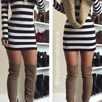 Faux Suede Thigh-High Boots - Taupe