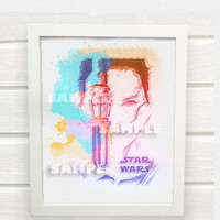 Star Wars Episode VII Rey Movie Poster- Instant Download Art Print, Watercolor Silhouettes Print, Home Wall Decor - ACD1003