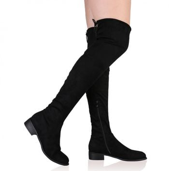 Joy Over the Knee Boots in Black Faux Suede