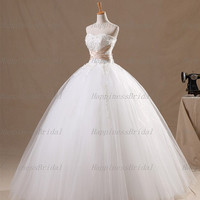Ball gown Sweetheart Floor-length Tulle Applique White Long Wedding Dresses Prom Dresses Formal Dresses Evening Dresses Party Dresses 2013