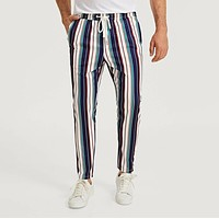 Men Drawstring Waist Slant Pocket Striped Pants