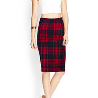 Red Pencil Midi Skirt in Plaid