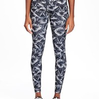 Go-Dry Mid-Rise Printed Compression Leggings for Women | Old Navy