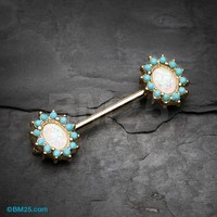 Golden Elegant Opal Turquoise Nipple Barbell Ring