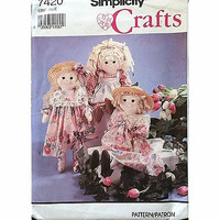 Rag Doll Clothes Simplicity 7420 Pattern 24in Vintage 1991 c1173