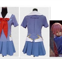 Yuno gasai costume cosplay anime Future Diary free shipping !!! Tops+Bow Tie+Skirt+Bowknot*2