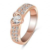 18K Rose-Gold/Silver Plated Heart Ring Jewelry Romantic Love Women Fashion