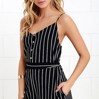Yacht Life Midnight Blue Striped Romper