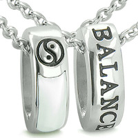 Forever Balance Love Couples Reversible Rings Yin Yang Cats Eye Simulated Onyx Pendant Necklaces