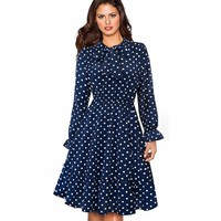 Vintage Polka Dots Pinup Bow Flare A-Line Swing Midi Dress
