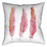 Pink Feathers Indoor Decorative Pillow