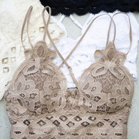 Lace Padded Bralette, Cocoa