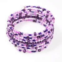 Violet Purple Memory Wire Wrap Around Bracelets