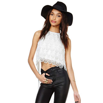 White Sleeveless Scallop Crochet Lace Long Back with High Slit Top