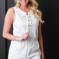 Marled Knit Eyelet Lace Up Romper