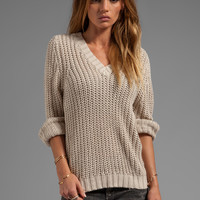 LA Made Jersey Knit Bell Sleeve V-Neck Sweater in Oatmeal from REVOLVEclothing.com
