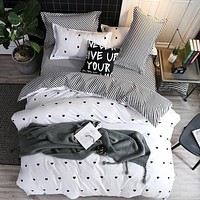 Fashion Simple Style Home Bedding Sets Bed Linen Duvet Cover Flat Sheet Winter Full King Single Queen
