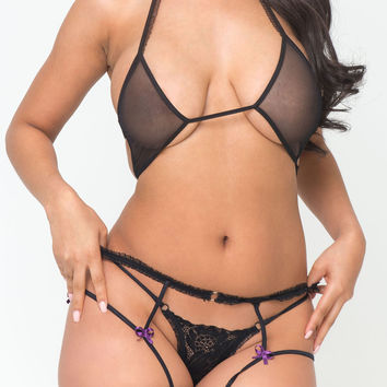Mesh and Lace Sexy Playsuit Set Lingerie -Low Stock Hot Selling Item
