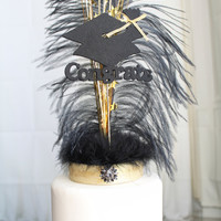 Congrats Grad Gatsby black and gold feather cake topper