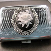 Silver Rose Cameo Steampunk Cigarette Case by OneFortyFive on Etsy