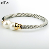 CHRAN Silver Plated Pearl Costume Brand Jewelry Promotion Fashion Stainless Steel Twisted Cable Bracelets & Bangles for Women