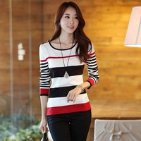 New Simple Women's Crew Neck Long Sleeve Knit Pullover Shirt Sweater Blouse Tops  Knitwear = 1958504836