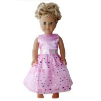"""Gown for American Girl Doll Clothes: Beautiful Light Pink Evening Gown w/ Silver Sparkly Accents and Our Exclusive Lilly and the Bee Novelties """"Pretty Little Princess"""" Hot Pink Bracelet"""