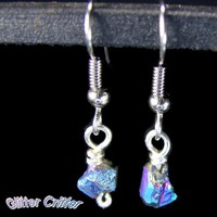Titanium Quartz Nugget Earrings Silver Plated Wire Wrapped