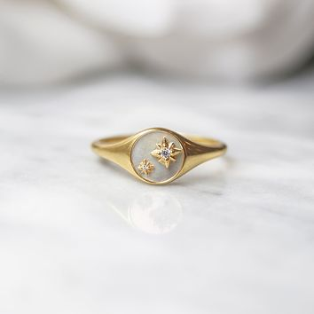 Mother Of Pearl Spellbound Signet Ring