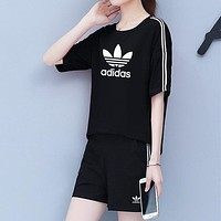 Adidas Fashion Short Sleeve Running Sport Gym Set Two-Piece Sportswear