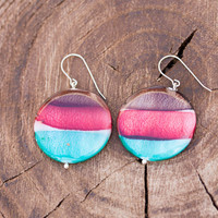 Big round dangle earrings made of colored shell beads