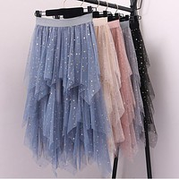 Metallic Sequined Starry Irregular Layered Mesh Patchwork Long Skirts Stretch Waist Shine Stars Tulle High Low A-line Long Skirt