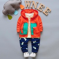 BibiCola Children Boy Clothes 3PCS Tracksuit for Boys Sport Tops+Hooded Coat +Pants Cartoon Dinosaur Baby Suit Baby Clothing Set