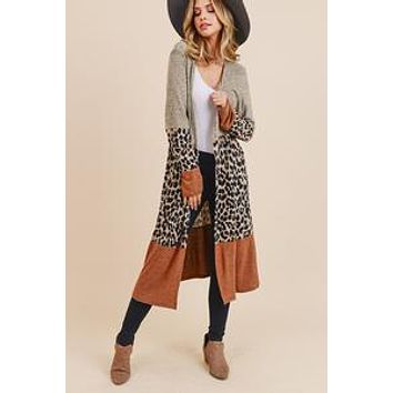 Marled and Leopard Print Block Cardigan with long sleeves