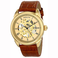 Invicta 17186 Men's Specialty Gold Skeleton Dial Brown Leather Strap Mechanical Watch