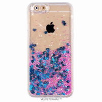 Blue Hearts Glitter iPhone Case