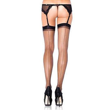 Hanging Tonight Black Ultra Sheer Back Seam Thigh High Stockings Tights Hosiery