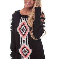 Black Sweater with Shoulder Cut Outs and Aztec Design