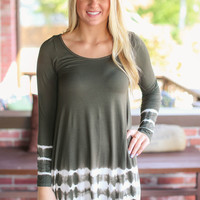 Tye Dye Edges Tunic - Olive