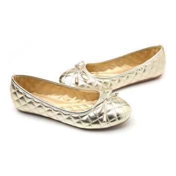 Bowknot Plus Size Mom Moccasin-gommino Flat Thin Shoes   golden