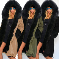 2016 New Fashion Winter Women European Style Fashion Hooded Jackets Coats Loose Faux Fur Casual Womens Outwear Jacket Coat Q4468
