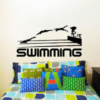 Wall Decal Vinyl Sticker Decals Art Home Decor Design Mural Swimming Sport Logo Emblem Swimmer Gift Office Window Bedroom Dorm Room AN172