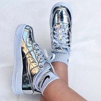 NIKE Air Force 1 Low Metal Color New Fashionable Women Men Sport Running Shoes Sneakers Silvery