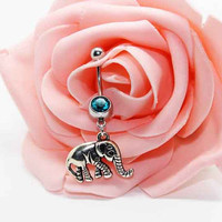 Belly button ring,Elephant navel ring,Elephant belly button jewelry