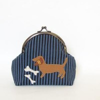 blue dapple dachshund  frame pouch by rabbitsmoon on Etsy