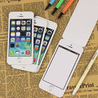 1 Pcs White Fashion Sticky Post It Note Paper Cell Phone Shaped Memo Pads Paper Notes Sticky Office Supplies