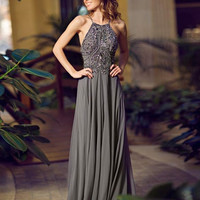 Charcoal halter chiffon gown 92605 - Prom Dresses