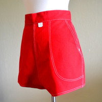 Fantastic Vintage Topsail Shorts, Cherry Red Pin Up Shorts, New Old Stock, Contrast Stitching, Size Small, 1950s-1960s