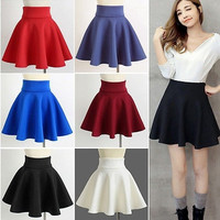 High Waist Skater Mini Skirt Jersey Plain Flared Pleated A-Line Short Sexy S M L = 1946618436